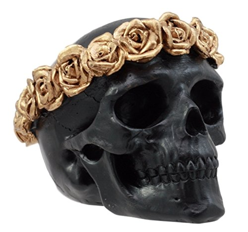 "Ebros Gift Day of The Dead Copper Rose Laurel Black Skull Figurine DOD Flower Wreath Sugar Skull Decor 4.25"" L"