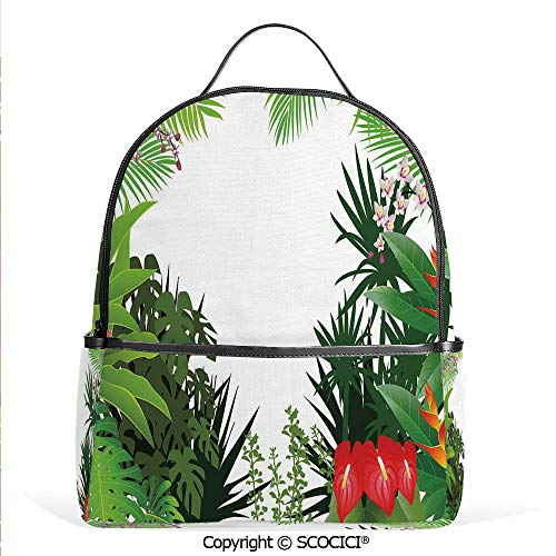 (Hot Sale Backpack outdoor travel Hibiscus Plumeria Crepe Gingers Anthurium Leaves Blossoms Image,Hot Pink White Red and Green,With Water Bottle Pockets)