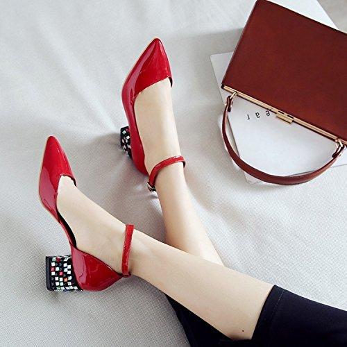 Jqdyl High Heels Damen Einzel Schuhe Grob High Heels Sandalen Jahreszeiten Damenschuhe  36|Red