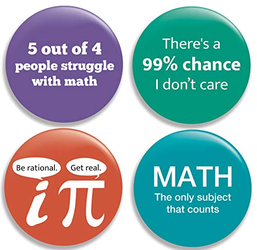 - Funny Math Pinback Buttons/Pins (2.25 inches) Set of 4