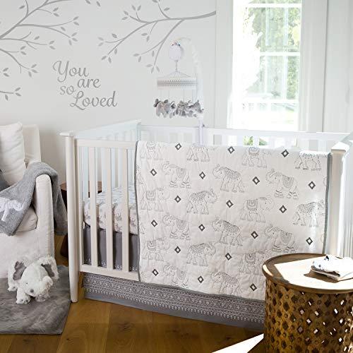 (Levtex Baby Elephant Parade 5-Piece Crib Bedding Set, Grey/White)