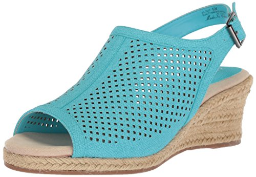 Easy Street Women's Stacy Wedge Sandal, Turquoise Linen Print, 7.5 2W US (Turquoise Chop)
