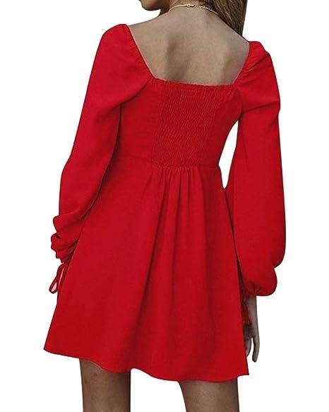 78b1c56c35 Moxeay Womens Vintage Long Sleeve Square Neck High Waist Button Down Mini  Shirt Dress at Amazon Women s Clothing store