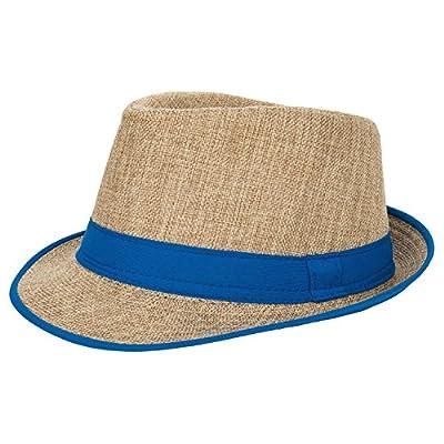 Aerusi Men's Summer Short Brim Straw Fedora Trilby Sun Hat with Band