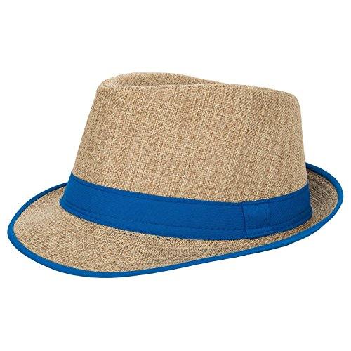 Aerusi Men's Summer Short Brim Straw Fedora Trilby Sun Hat with Blue Band - Trim Fedora