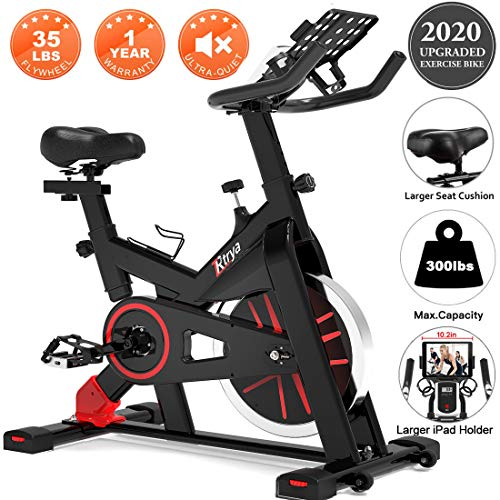 TRYA Spin Bike, Belt Drive Indoor Cycling Bike Stationary with Ipad Mount, 35 LBS Flywheel Workout Bike for Home Cardio Gym with Comfortable Seat Cushion