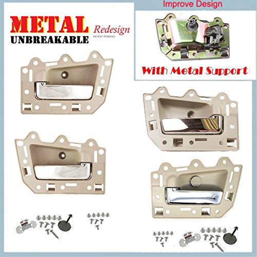 05-11 Jeep Grand Cherokee Inside Door Handle Set 4PCS Tan Beige & Chrome DS291 05 06 07 08 09 10 11