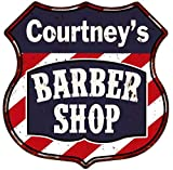 Courtney's Barber Shop Personalized Shield Metal Sign Hair Gift 211110020491