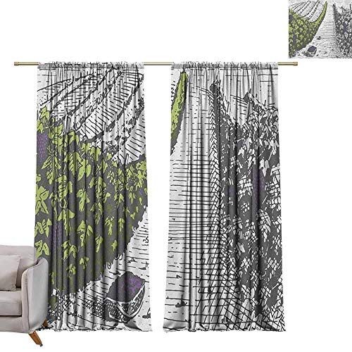berrly Custom Curtains Tuscany,Hand Drawn Style Vineyards Landscape Green Field Vintage Look, Pistachio Green Pale Grey Violet W96 x L108 Grommet Window Drapes