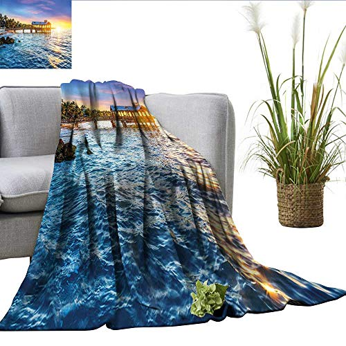 smllmoonDecor United States Degrees of Comfort Weighted Blanket Pier at Beach in Key West Florida USA Tropical Summer Paradise Office Blanket Light Blue Yellow Green W50 xL70 (Best Pizza In Key West)