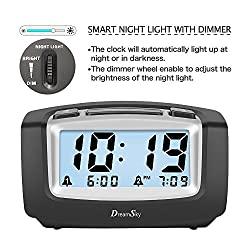 DreamSky Dual Alarm Clock With Snooze And Backlight , Smart Nightlight With Dimmer , Battery Operated , Ascending Alarms Sound , Easy To Use .