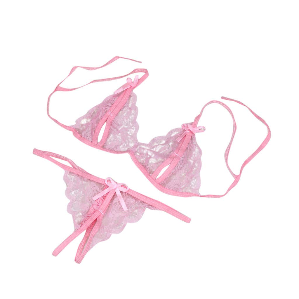 Valentine's Day Ninasill Woman Sexy Perspective Mesh Lace Belt Dew Point Crotchless Bra+Thong Erotic Underwear Pink