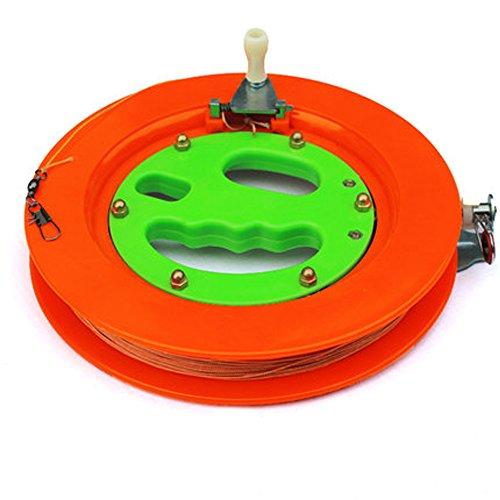 Hengda Kite Professional Color Kite Ballbearing Reel Line Winder Grip Wheel + 150M Tire Line With Lock-Orange