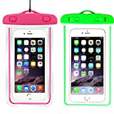 (2Pack) Universal Waterproof Case, CaseHQ IPX8 Waterproof Phone Pouch Dry Bag for iPhone X/8/8plus/7/7plus/6s/6/6s plus Samsung galaxy s8/s7 Google Pixel HTC10 up to 6.0'' diagonal (Pink)