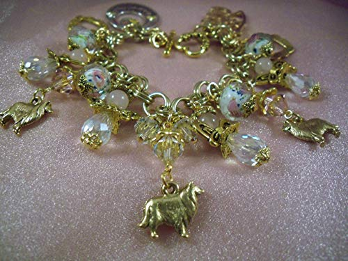 SHELTIE-COLLIE-JEWELRY -N10- Sale-GUARDIAN ANGELS- THEMED BRACELET -FREE SHIPPING- ANGEL Charm Bracelet- HOBBY HORSE LADY jEWELRY- Jewelry for Dog Lovers