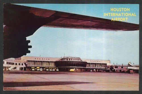 View under jet wing Houston International Airport TX postcard 1950s
