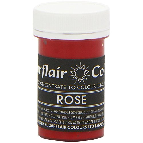 50 x Sugarflair ROSE Red Pink Pastel Edible Food Colour Paste for Cake Icing 25g by Sugarflair