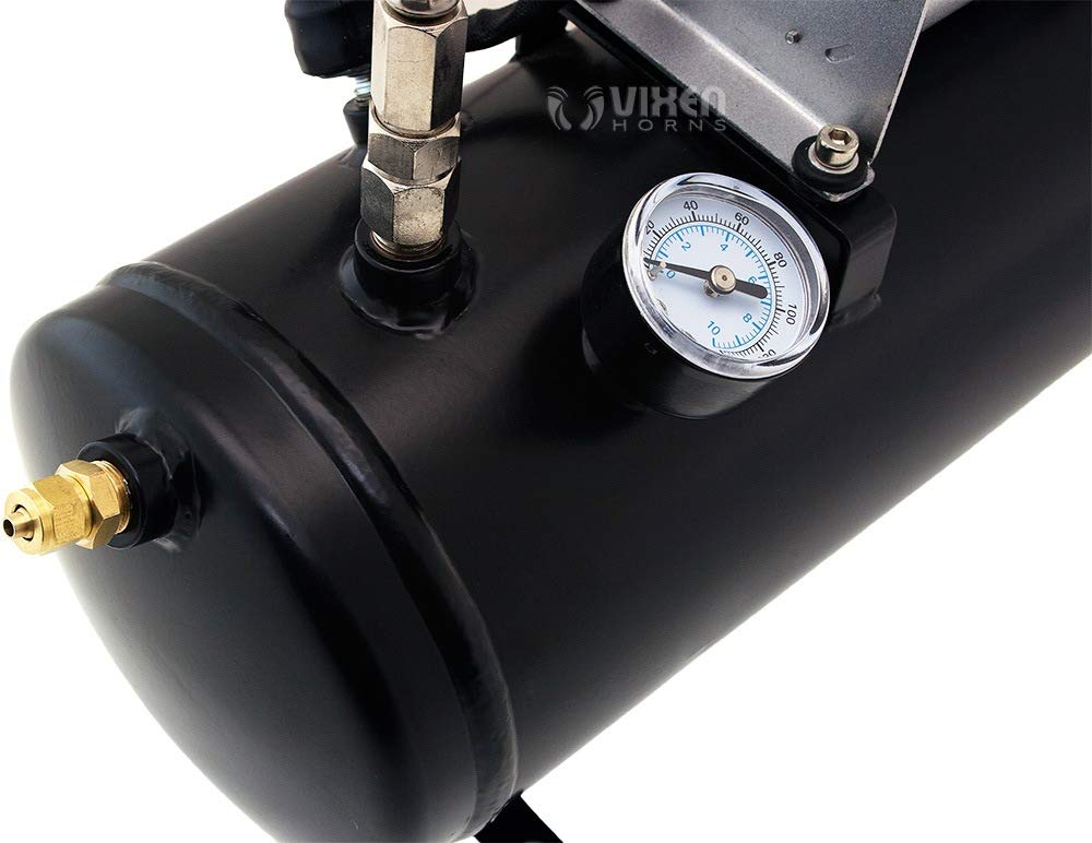 Vixen Horns Loud 149dB 4/Quad Black Trumpet Train Air Horn with 1.5 Gallon Tank and 150 PSI Compressor Full/Complete Onboard System/Kit VXO8530/4114B by Vixen Horns (Image #8)