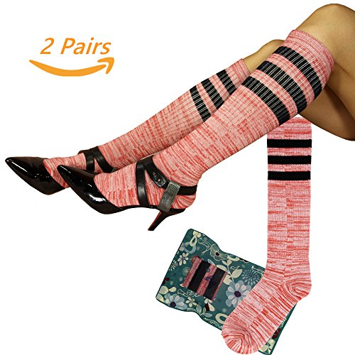 Women Ladies Girls Classic Knee High Fun Socks Size 4-10 Fancy Design Multi Color Stripe Argyle Heart Tselected (2 Pairs Sorrel) (Sorrel Stripes)