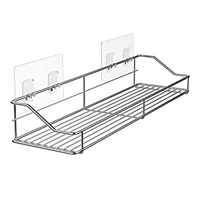Orimade Bathroom Shelf Organizer Storage Kitchen Rack with Traceless Transparent Adhesive No Drilling SUS304 Stainless Steel