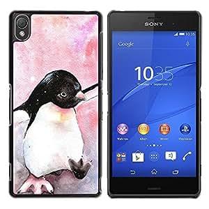 Be Good Phone Accessory // Dura Cáscara cubierta Protectora Caso Carcasa Funda de Protección para Sony Xperia Z3 D6603 / D6633 / D6643 / D6653 / D6616 // Watercolor Penguin Baby Bird
