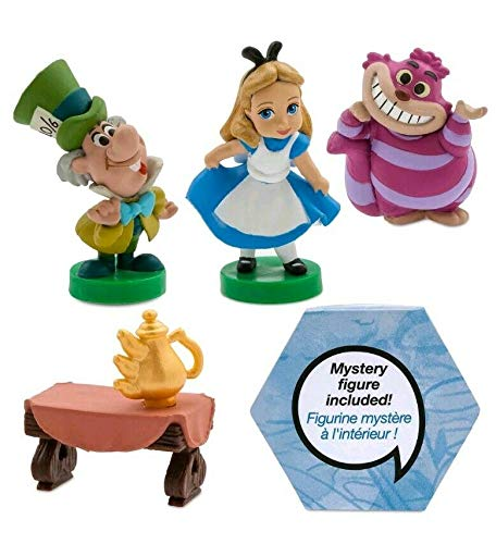 Playset Alice in Wonderland Animators Collection 5 Piece Mini Figure Set Featuring Alice, Cheshire Cat, Mad Hatter and Friends