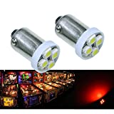 PA 10PCS #1893 #44 #47 #756 #1847 BA9S 4SMD LED Wedge Pinball Machine Light Bulb Red-6.3V