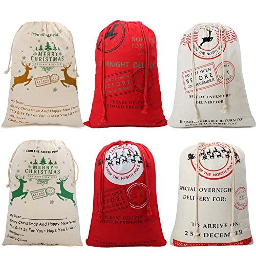 Hoople Christmas Santa Sack Reindeer Delivery Present Bags from North Pole Bags for Kids Large Christmas Decoration Stocking 6 Pack Random Pattern