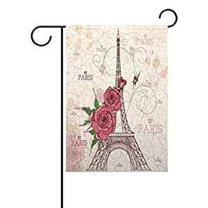 "PersonalizedShop Romantic Eiffel Tower With Flowers 28"" x 40"" Double Sided Fade Resistant Polyester Garden Flag"