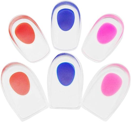 [SITAKE] 3ペア インソール かかと中敷き インソール ヒールクッション ジェルヒールカップ足底筋膜炎 かかとの痛み 踵衝撃分散パッド アーチ足裏サポーター 男女兼用 (赤と青とピンク)