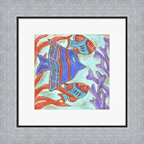 Nancy Slocum Pop - Pop Fish IV by Nancy Slocum Framed Art Print Wall Picture, Flat Silver Frame, 16 x 15 inches