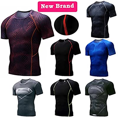 TECOFFER Men's Athletic Compression Sport T-shirt Gym Muscle Bodybuilding Tights Tops