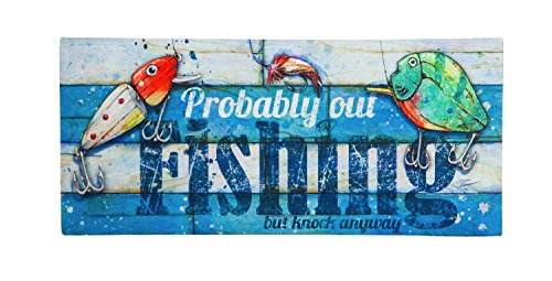 Evergreen Probably Out Fishing Decorative Floor Mat Insert, 10 x 22 ()