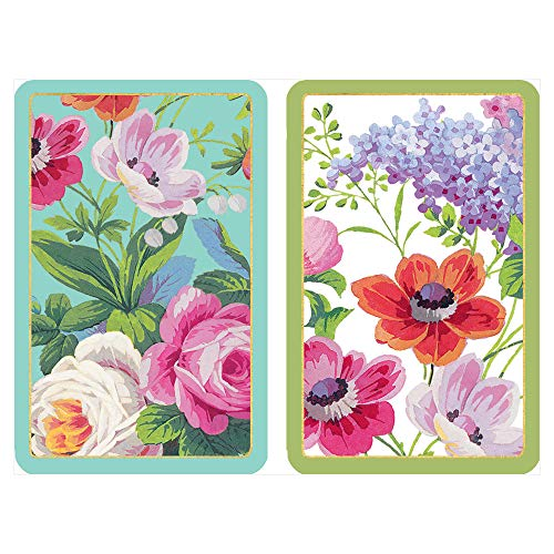 Caspari Edwardian Garden Large Type Playing Cards, 2 Decks Included