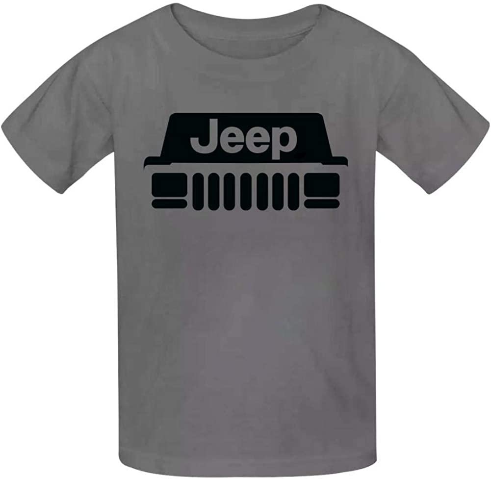 Boini Jeep Car Logo Basic Daily Wear Cotton Graphic T Shirts for Girls and Boys
