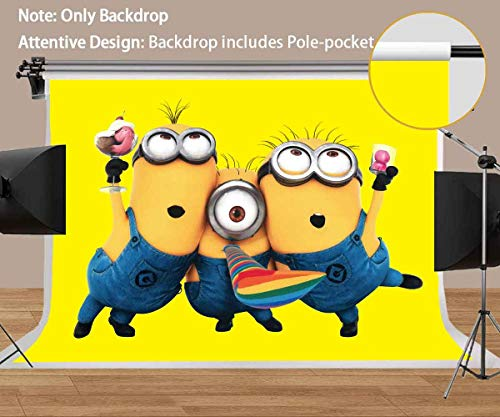 MEETS 7x5ft Minions Backdrop Yellow Cartoon Photography Background Themed Party Photo Booth YouTube Backdrop -