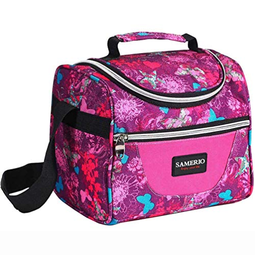 Kids Lunch Tote - Lunch Bag for Kids Insulated Lunch Box for Girls Boys Children Student Cooler Lunch Tote Bag With Adjustable Shoulder Strap and Front Pocket Perfect for School Work Picnic Outdoor Activities(rose)