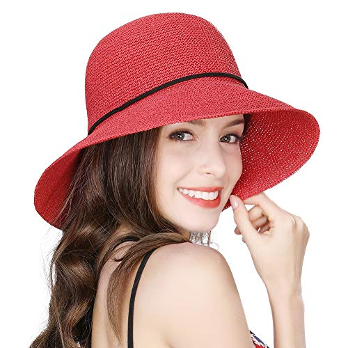 - Jeff & Aimy Womens Sun Hat Straw Panama Fedora Cloche Packable Floppy Brim Fashion Straw Cloche UPF Summer Beach Travel Hat Red