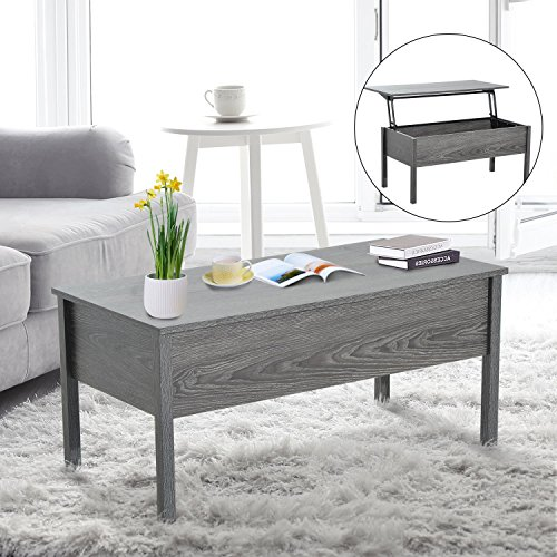 "HOMCOM 39"" Modern Lift Top Coffee Table Desk with Storage - Light Grey Woodgrain"