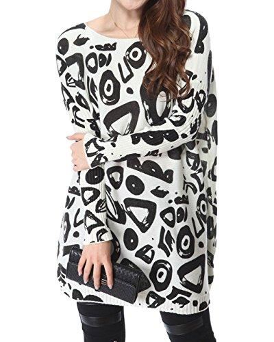 Vogue of Eden Women's Doodles Print Oversized Knit Pullover Sweater Dress White