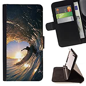 - Surfing Windsurfing Waves Sea Sunshine Beach - - Style PU Leather Case Wallet Flip Stand Flap Closure Cover FOR HTC DESIRE 816 - Devil Case -