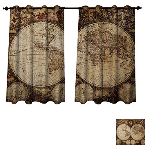 RuppertTextile World Map Blackout Curtains Panels for Bedroom Old World Map Drawn in 1720s Nostalgic Style Art Historical Atlas Vintage Design Room Darkening Curtains Multicolor W52 x L63 inch (Orlando Old Furniture World)