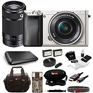 Sony Alpha a6000 Silver Interchangeable Lens Camera with 16-50mm and 55-210mm Sony E-Mount Lenses Bundle