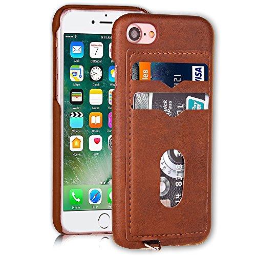 2 Card Holders Leather Coated Hard Back Shell Tasche Hüllen Schutzhülle - Case für iPhone 7 4.7 inch - Brown