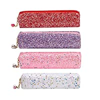 HOUTBY Shiny Sequin Pen Pencil Case Glitter Sparkly Girl Colored Stationery Pouch Envelope Handbag Small Cosmetics Bag Makeup Organizer, 4pcs