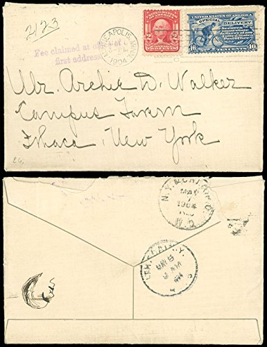 1904, Minneapolis CDS, NY & CHI RPO W.D. to ITHACA, NY, SPECIAL DELIVERY, SC #E6