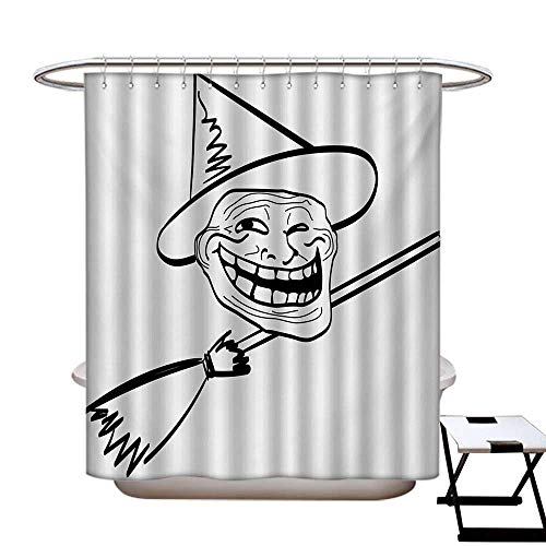 haommhome Humor Anti Bacterial Shower Curtain Liner Halloween Spirit Themed Witch Guy Meme LOL Joy Spooky Avatar Artful Image Print Shower Curtain with 12 Beaded Rings Black and White72×84