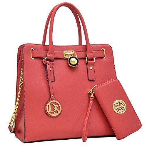 Marco Stylist Women Fashion Pad-lock Satchel handbags with wallet(2553)~Designer Purse for Women ~Multi Pocket ~ Beautiful Designer Handbag Set(02-2553(168) Red) ()