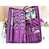 Yosoo 104pcs Knitting Kit Stainless Steel Straight Circular Knitting Needles Crochet Hook Needlework Weave Set Hand Tool Accessorieswith Pu Bag