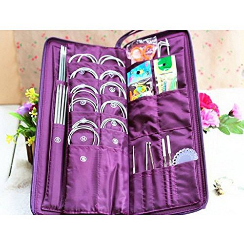 Yosoo 104pcs Knitting Kit Stainless Steel Straight Circular Knitting Needles Crochet Hook Needlework Weave Set Hand Tool Accessorieswith Pu Bag by Yosoo